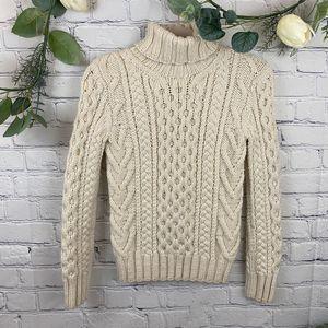 J Crew Wool Fisherman knit turtle neck sweater
